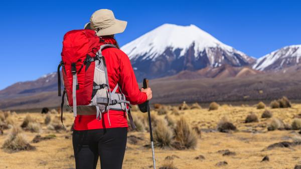 Woman hiking on the Bolivian Altiplano