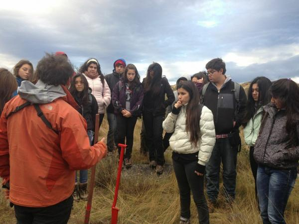 Local high school students learning about reforestation in Torres del Paine National Park