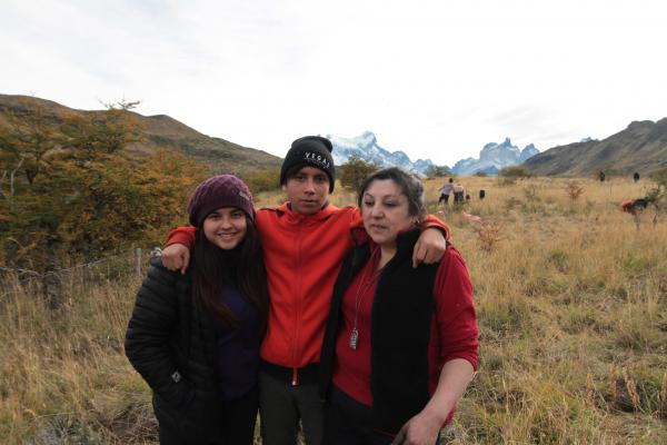 Taking a break with friends during class field trip to reforest Torres del Paine National Park