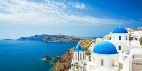 White church on Oia, Santorini