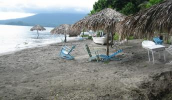 Santo Domingo Beach on Ometepe Island, the water level high