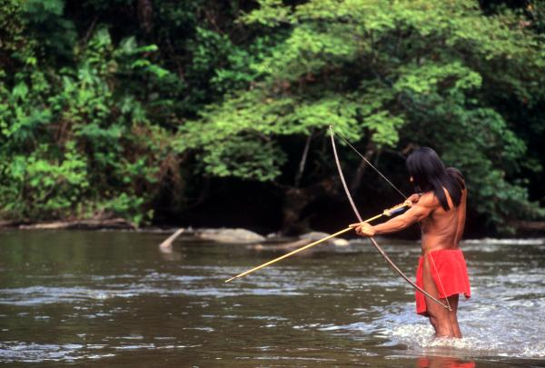 Indigenous man hunting in the Amazon