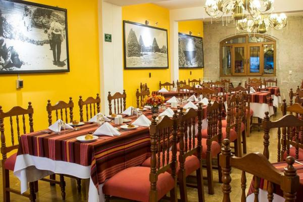 Enjoy a Peruvian meal at the restaurant of the Hotel Hacienda Plaza de Armas