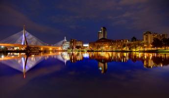 Zakim Bridge reflection on the Charles River in Boston