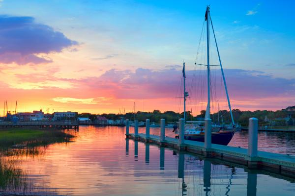 Sunrise Over A Docked Sailboat In Charleston South Carolina