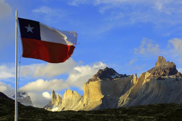 Chilean flag waves in the wind