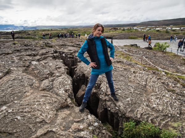 Standing at the fissure in Thingvellir