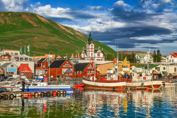 Historic town of Husavik on the North Coast