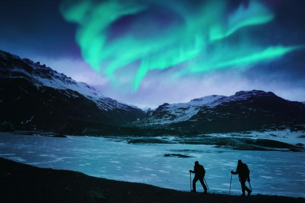 Hiking under the Northern Lights