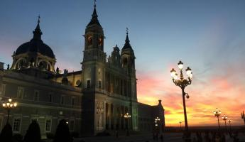 Cathedral at Sunset in Madrid