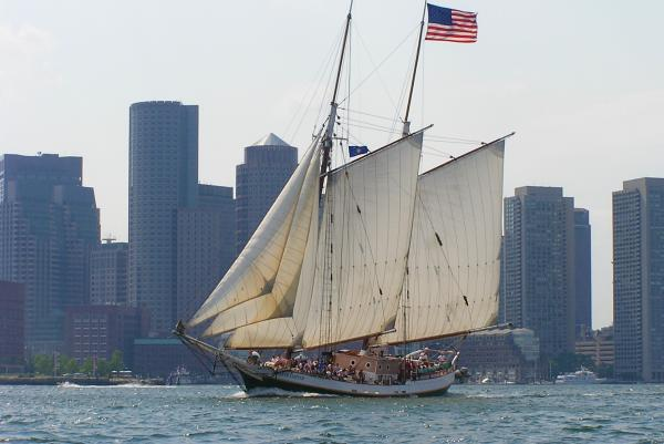 Liberty Clipper sailing along Boston Harbor