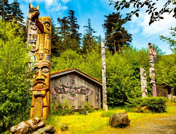 Alaska native clan house and totems