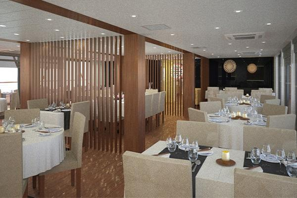 Dining Room aboard the RV Indochine II