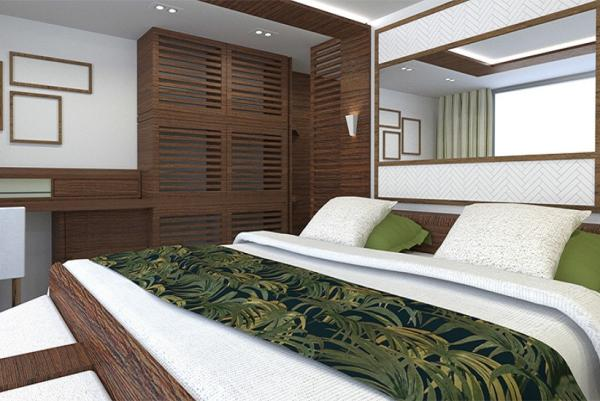 Comfortable cabin aboard the RV Indochine II