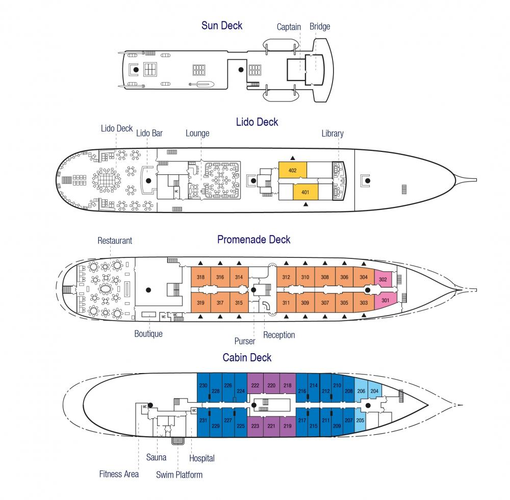 Sea Cloud II Deck Plan