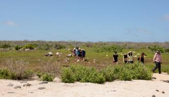 Our group explores North Seymour Island.