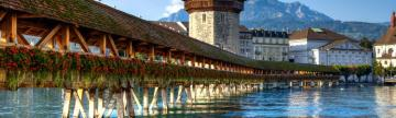 Wooden bridge over river in Lucerne