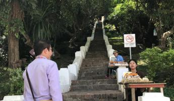 The start of our climb up Mount Phousi - 300+ steps to go!