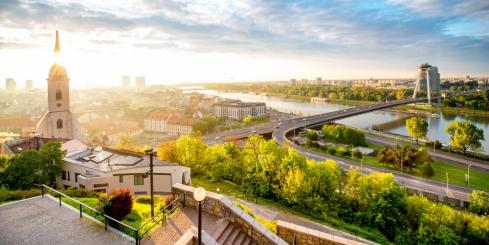Morning view on Bratislava city