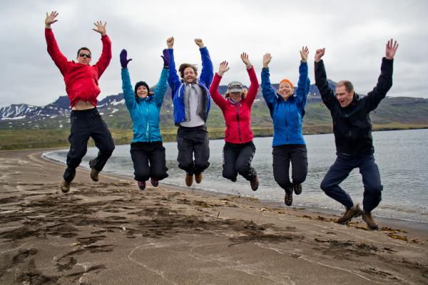 Group jump in the East Fjords