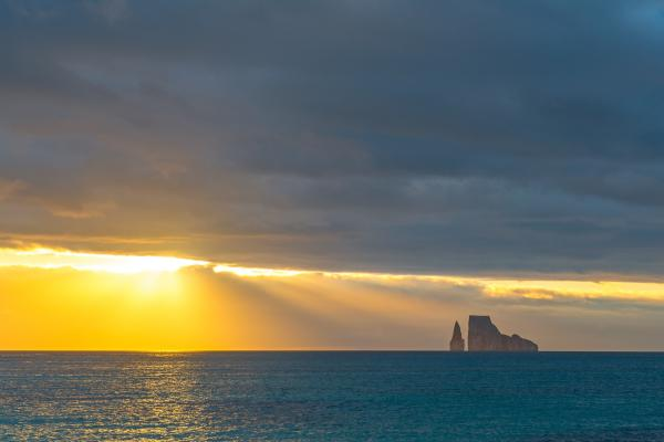 Kicker Rock at sunset in the Galapagos