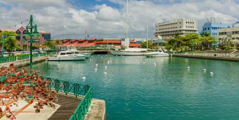 Boats Moored to the Quay at Bridgetown Harbour