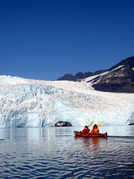 Kayaking to a glacier