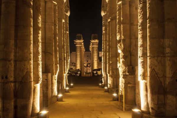 Famous Luxor temple complex at night