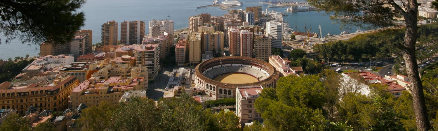 An aerial view of the city Malaga
