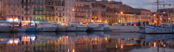 A beautiful marina, Cannes at night