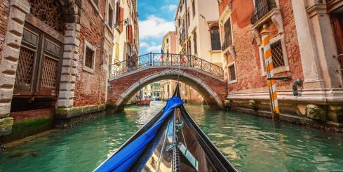 View from gondola during the ride through the canals, Venice