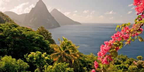Mountains by the ocean in St Lucia