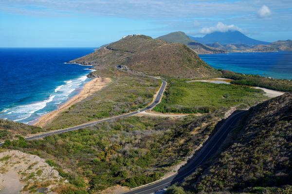 The Southeast Peninsula of Saint Kitts with Nevis in the Background