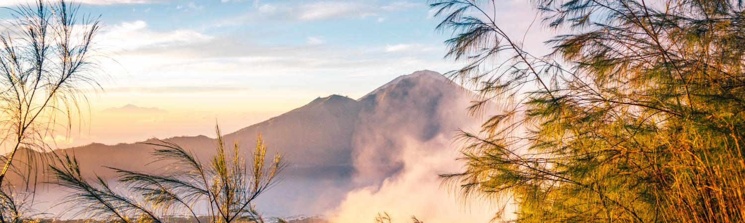 Volcano scenery at sunrise
