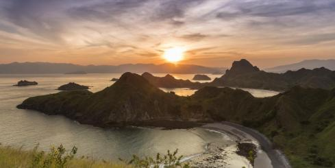 Breathtaking aerial sunset in Komodo National Park in Indonesia