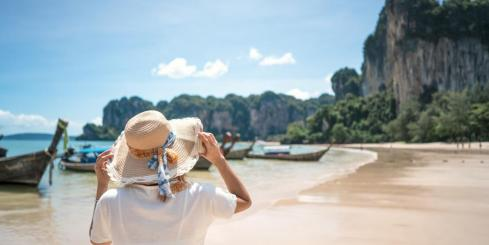 Traveler admiring a marine Indonesian view