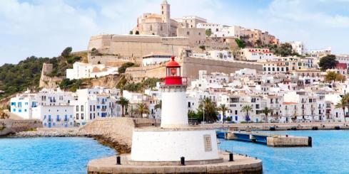 Eivissa ibiza town from red lighthouse port entrance beacon