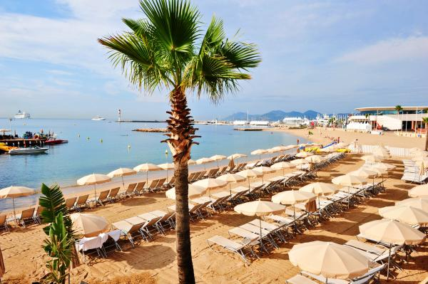 Beautiful beach at Cannes, France