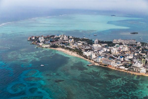Aerial view of San Andrés, Colombia