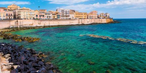 Coast of Ortigia island at city of Syracuse