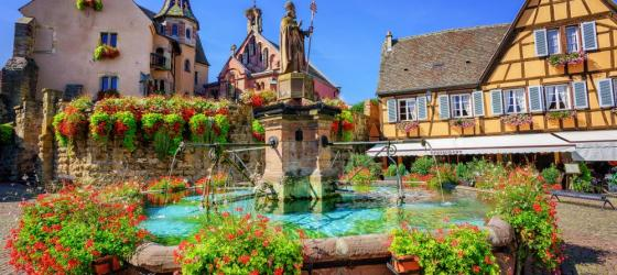 Along wine route in Alsace, France
