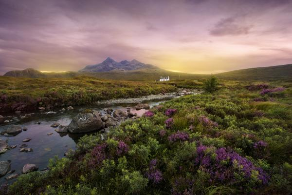 Colorful sunset over the Scottish Highlands