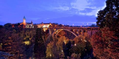 Bridge at night in Luxembourg