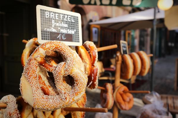 Bretzel (pretzel) for sale in streets of Strasbourg. An Alsace specialty.