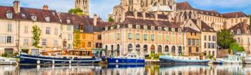 Historic town of Auxurre and Yonne River in Burgundy