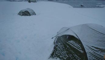Camping at Argentine Island, Antarctic continent