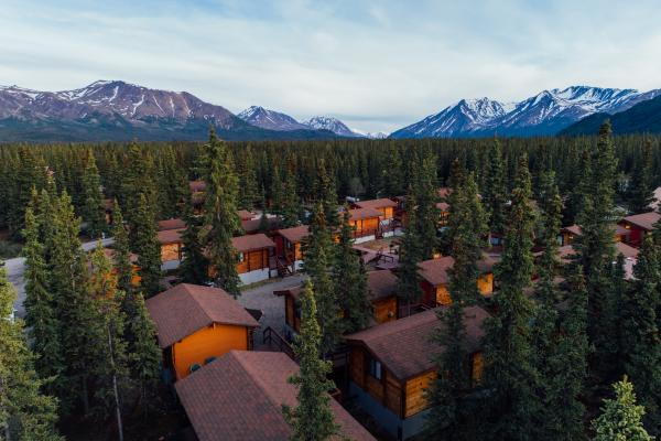 Aerial view of Denali Cabins at entrance