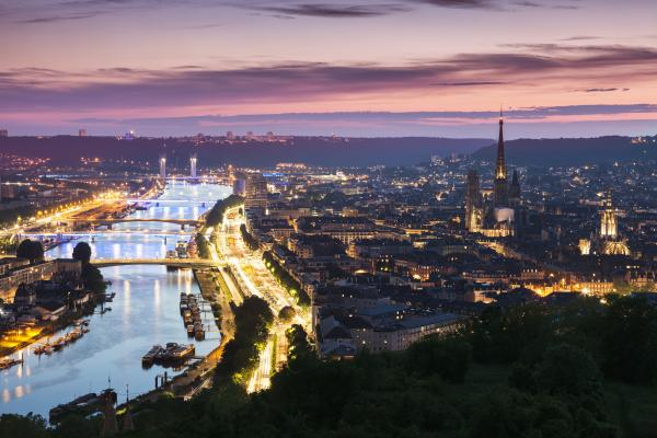 Panorama of Rouen at sunset