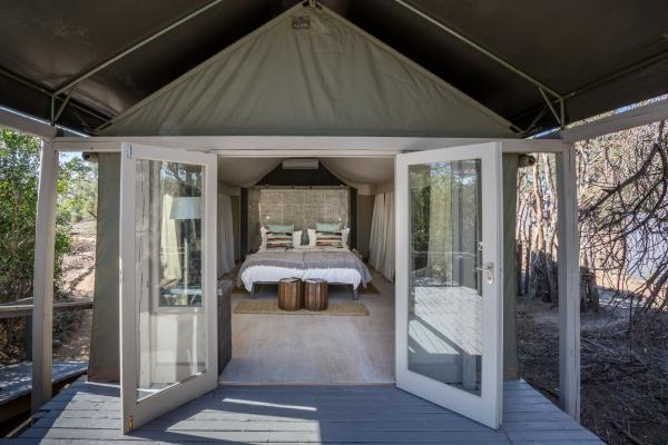 Simbavati River Lodge's brightly decorated tents open onto private decks