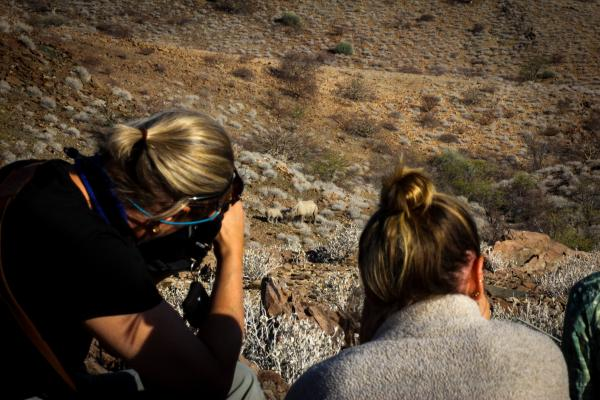 Guests photographing the endangered black rhino